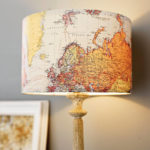 Creative-Ideas-to-Make-Maps-as-the-Theme-of-Handmade-Lampshades-Combined-with-Gorgeous-Table-Leg-Which-is-Colored-in-Gold-Installed-near-with-Picture-Frame