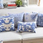 O-envio-gratuito-de-2016-Zakka-Azul-e-branco-impresso-algod-o-fronha-de-linho-Sof